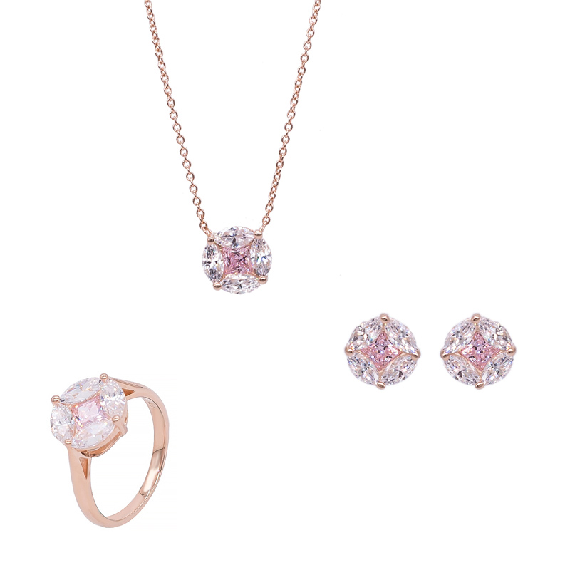 925 Rose Gold Jewelry Set