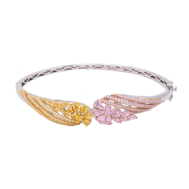 yellow and pink silver bangle