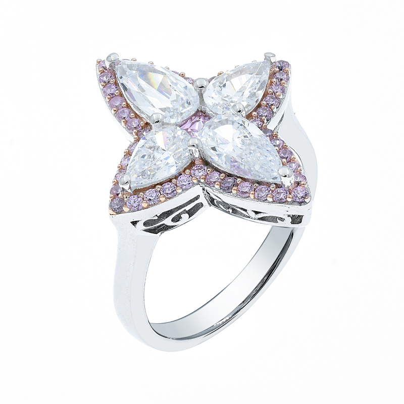 Wholesale Exquisite 4 Leaf Clover Silver Ring With Pink