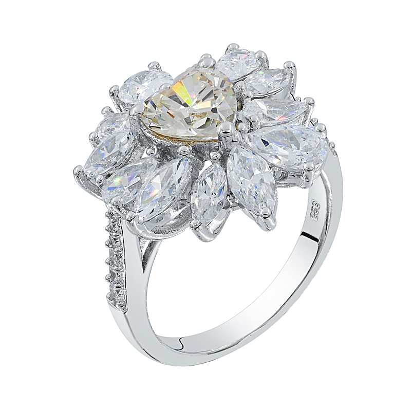 floral ring with morgantie peach CZ