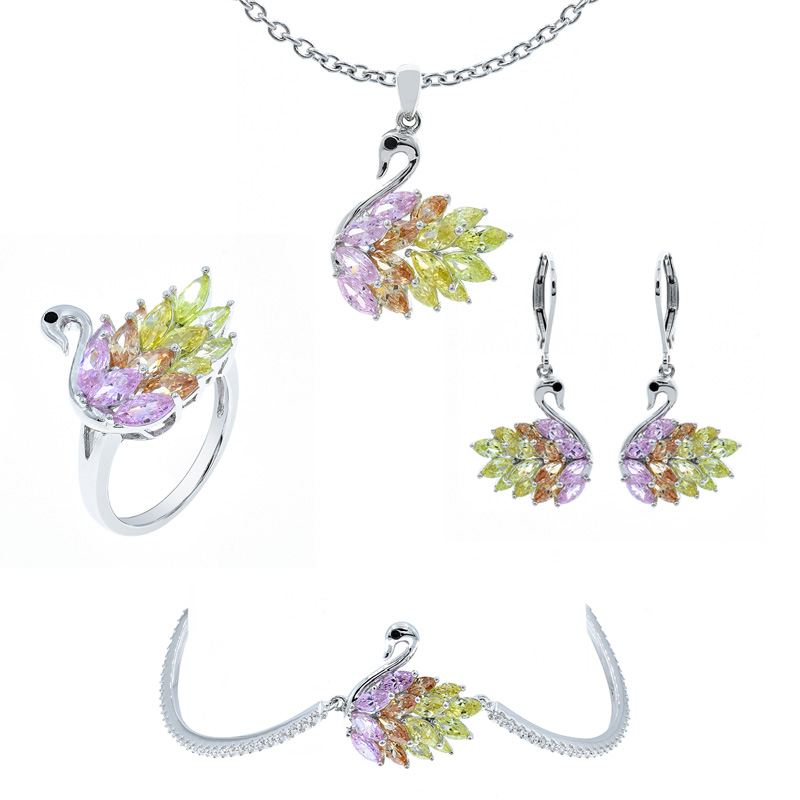 925 silver swan jewelry set for ladies