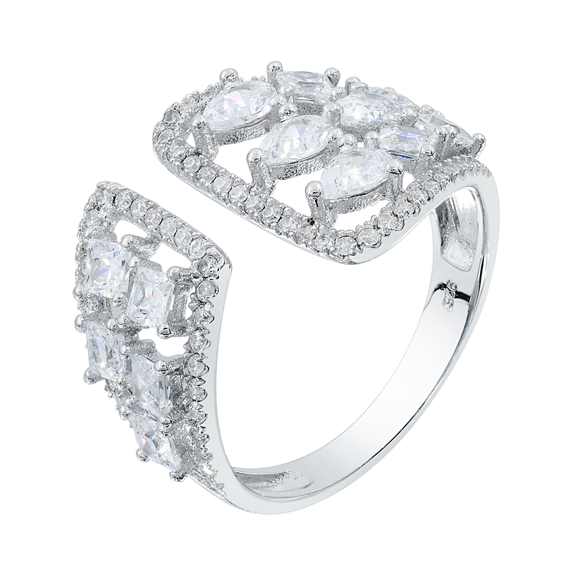 graceful white CZ ring for ladies
