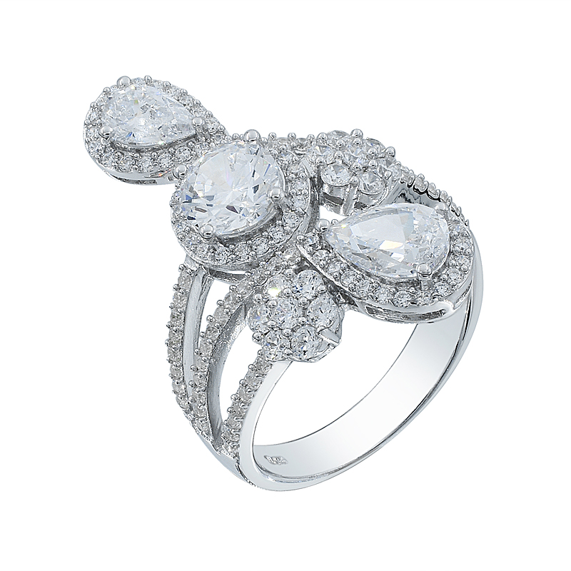 trendy silver ring with white CZ