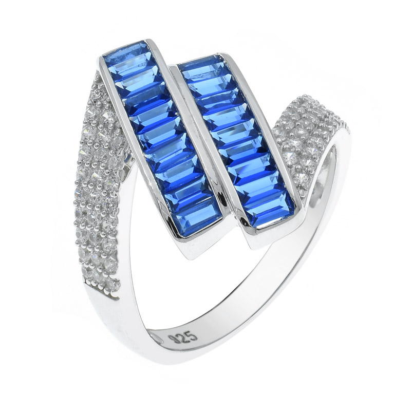 silver ring with baguette blue nano