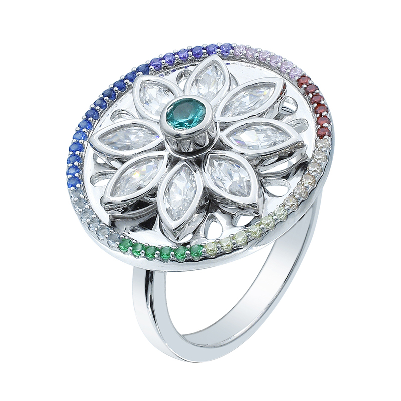 silver ladies floral spinning ring