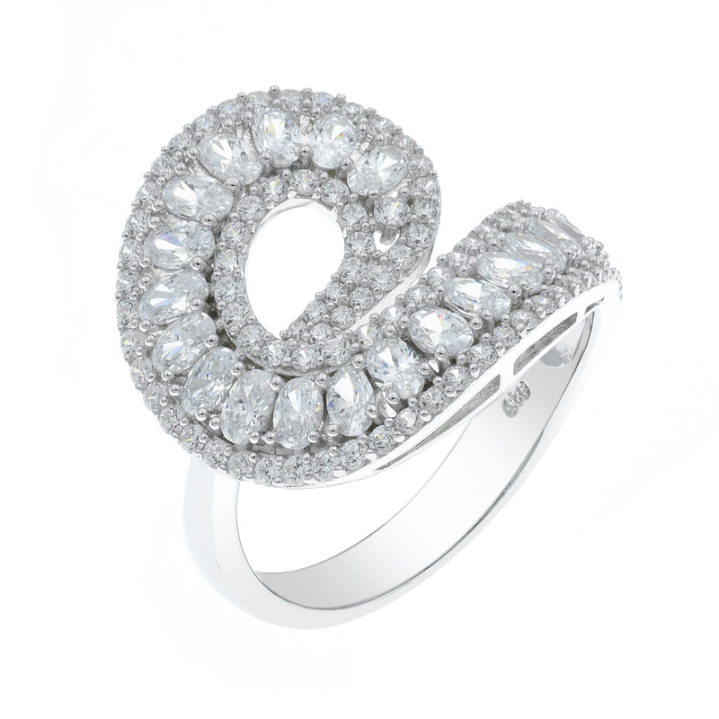 twist white cz ring for ladies