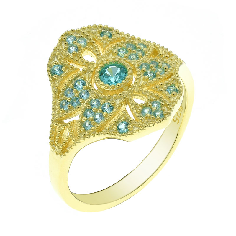fancy gold plated paraiba ladies ring