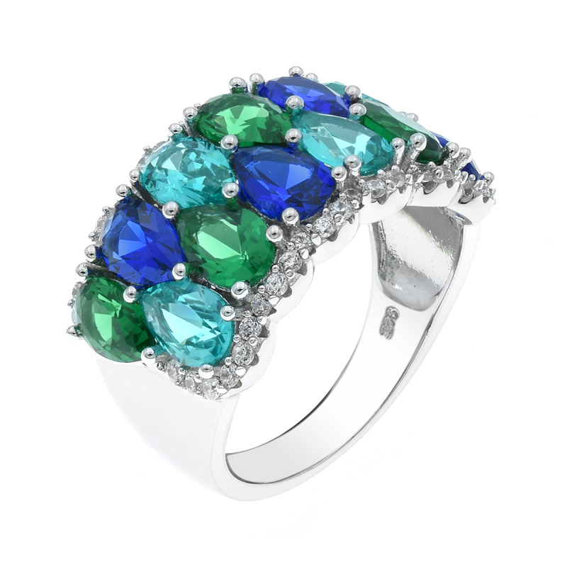 925 silver ring with two row of color stones