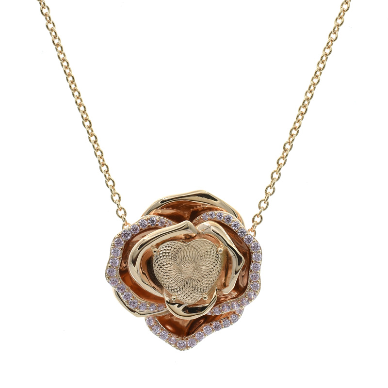 rose gold plated flower necklace for ladies