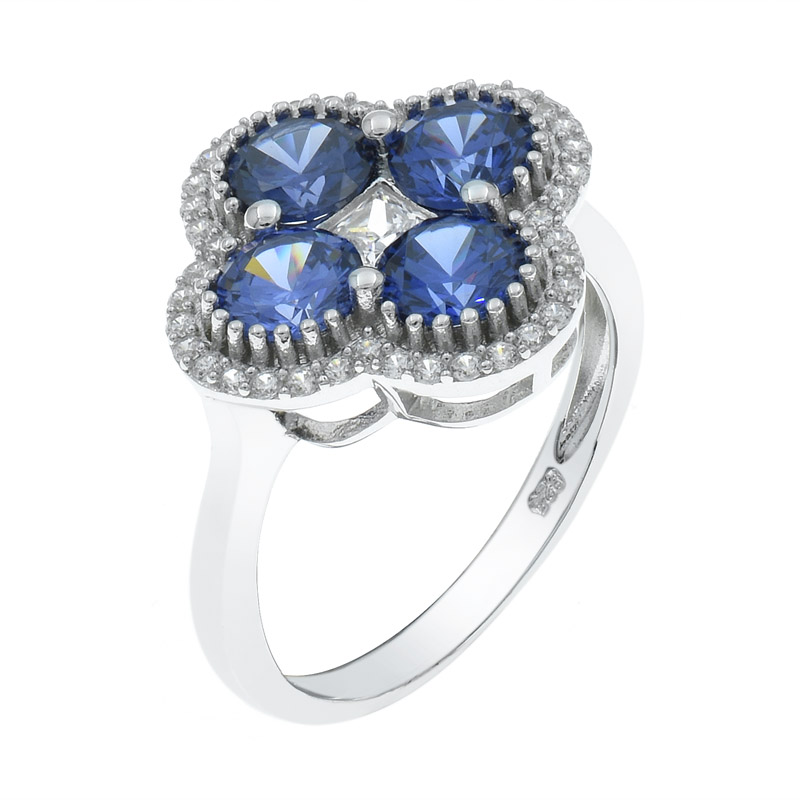 Tanzanite CZ Four Leaf Clover Ring For Ladies