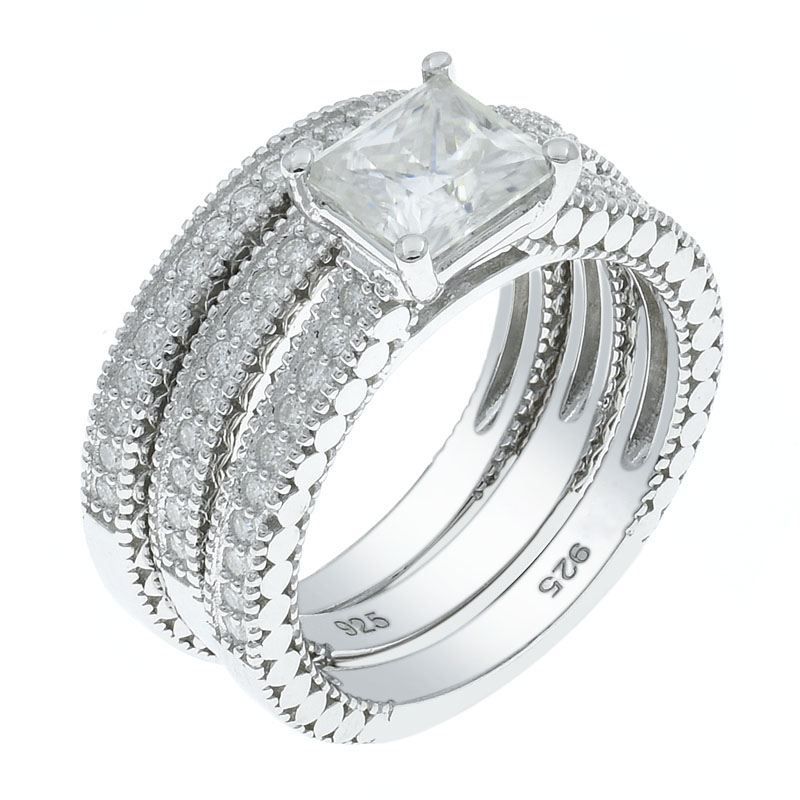 Women Detachable White CZ Ring