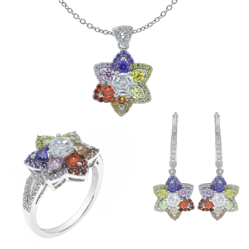 Women Multicolor Flower Shape Jewelry Set