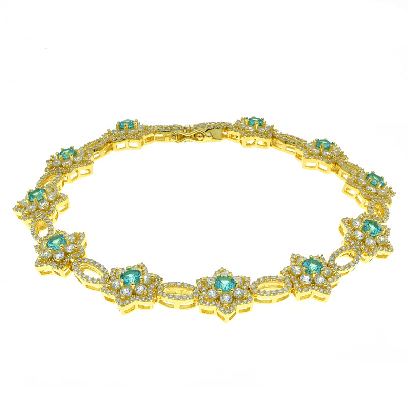 Wonderful Paraiba Floral Bracelet For Women