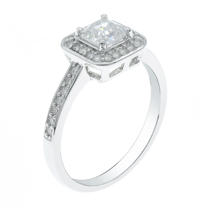 Women Halo Square CZ Ring