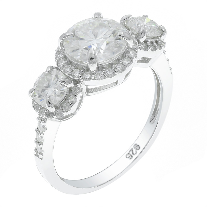 Women Halo Three Stone Ring