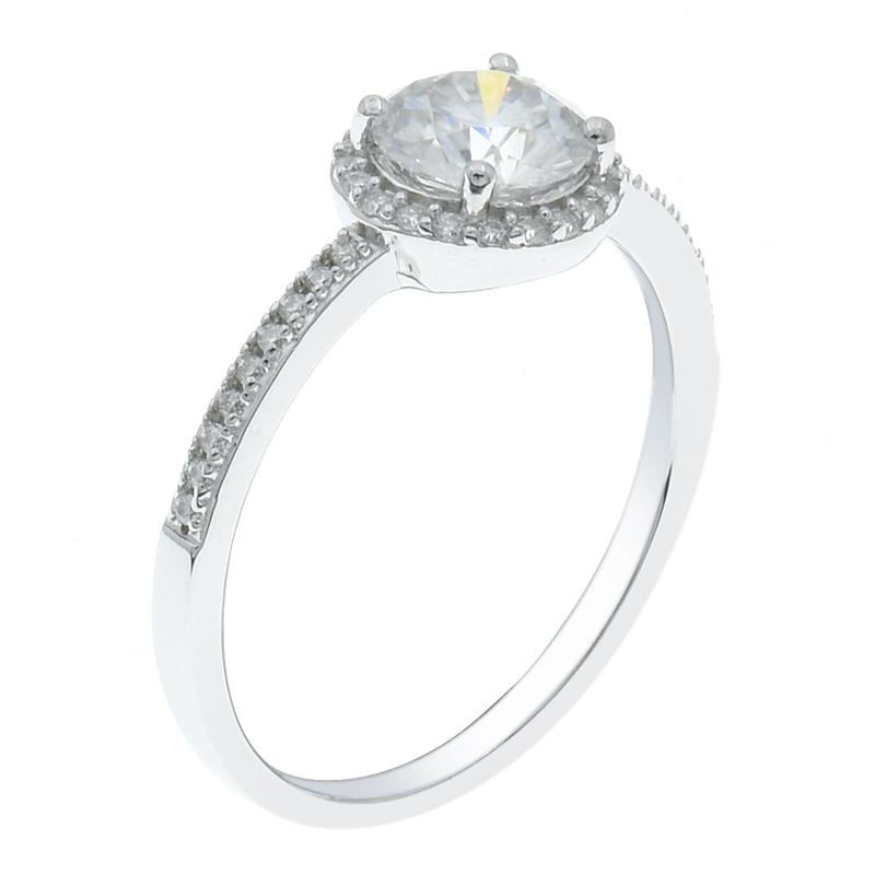 Women Solitaire Halo Round Shape Ring