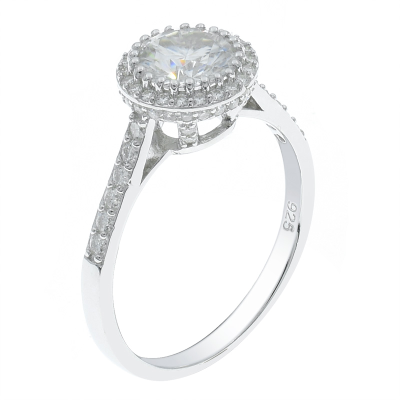 Solitaire Halo Women 925 Ring