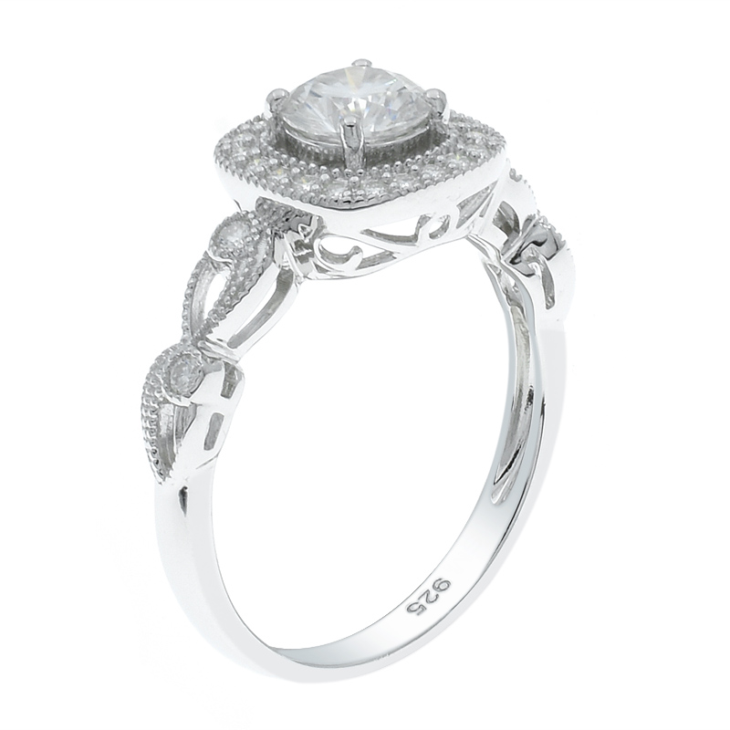 Halo Ladies Ring With Twist Band