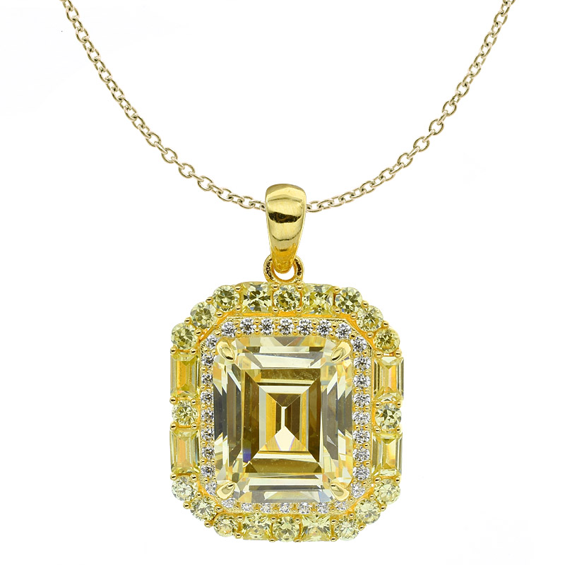 Wholesale Women Diamond Yellow CZ Pendant
