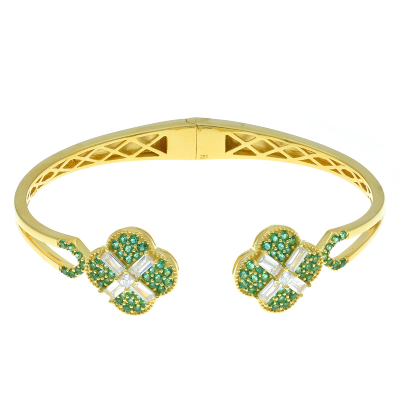 Women Double Clover Open Bangle