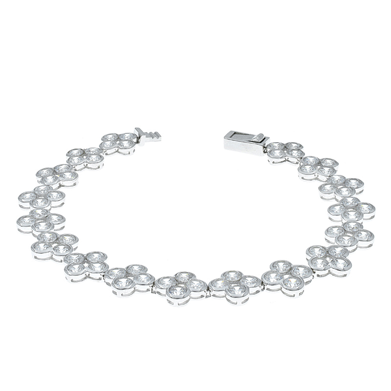 White CZ Clover Bracelet For Women