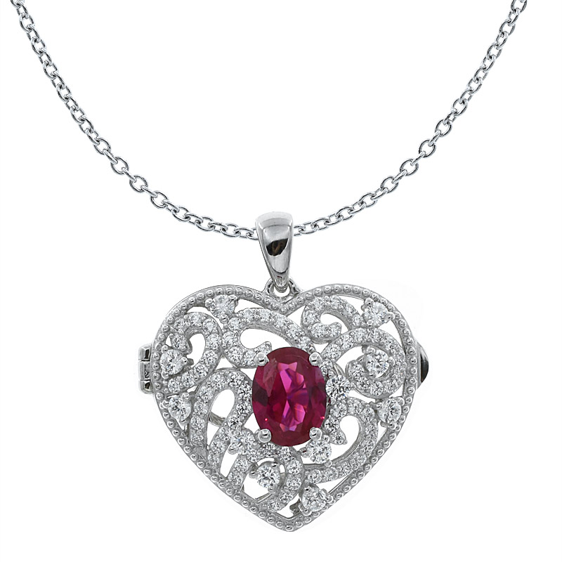 Women Heart Shape Filigree Locket Pendant