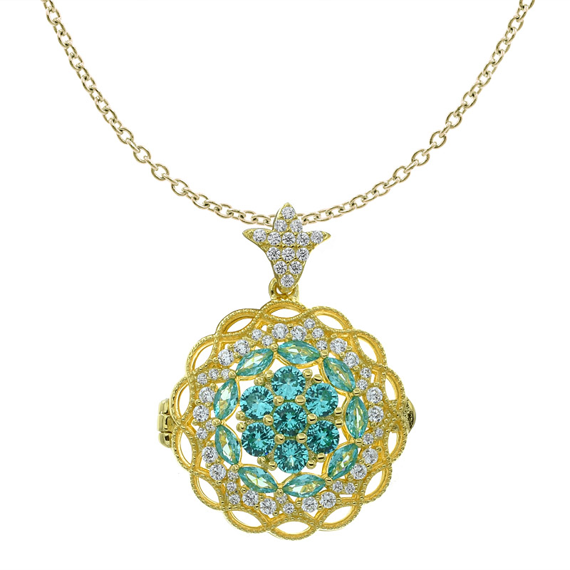 Women Flower Filigree Locket Jewelry Pendant