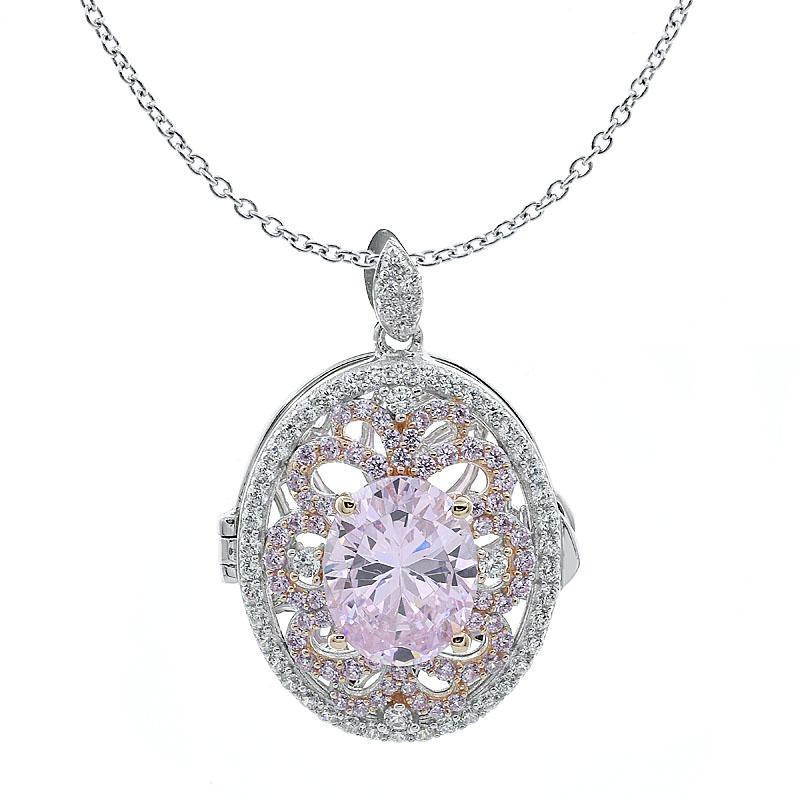 Diamond Pink CZ Locket Jewelry Women Pendant