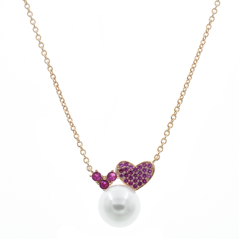 Jewelry Necklace With fresh Pearl & Red Corundum