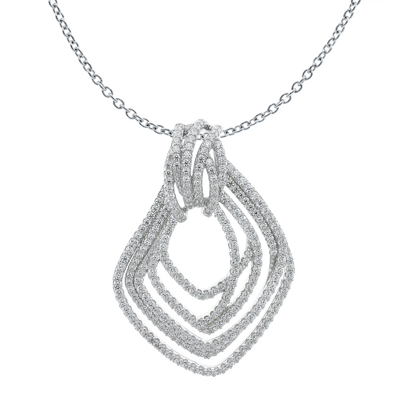 Women Multi Lines Pendant With Clear Stones