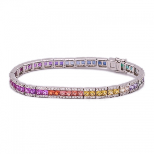 wholesale 925 sterling silver rainbow colour bracelet in 7 25inch