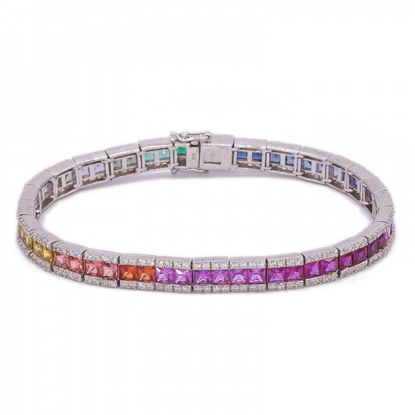 925 sterling silver Rainbow colour bracelet in 7.25inch