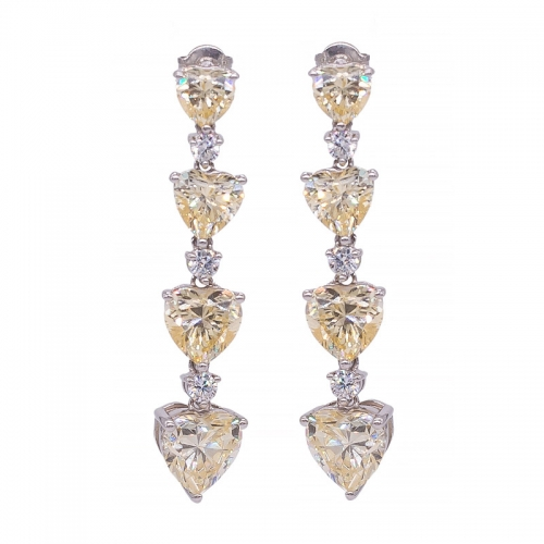 925 sterling silver diamond yellow heart long earrings