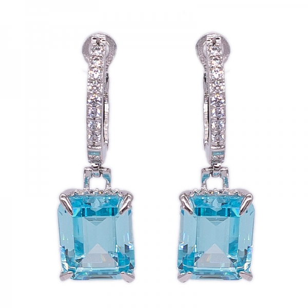 Aqua Cubic Zirconia Earrings 925 Sterling Silver with Emerald Cut