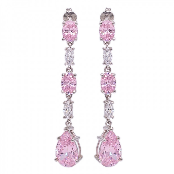 Diamond Pink Drop Long Earrings in 925 Sterling Silver