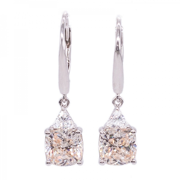 Antique Cushion CZ Sterling Silver Drop Earrings