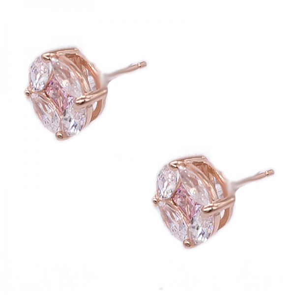 Rose Gold Plated Special Round Shape Siver Jewelry Set