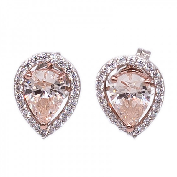 925 Sterling Silver Stud Earrings With Morganite Peach CZ