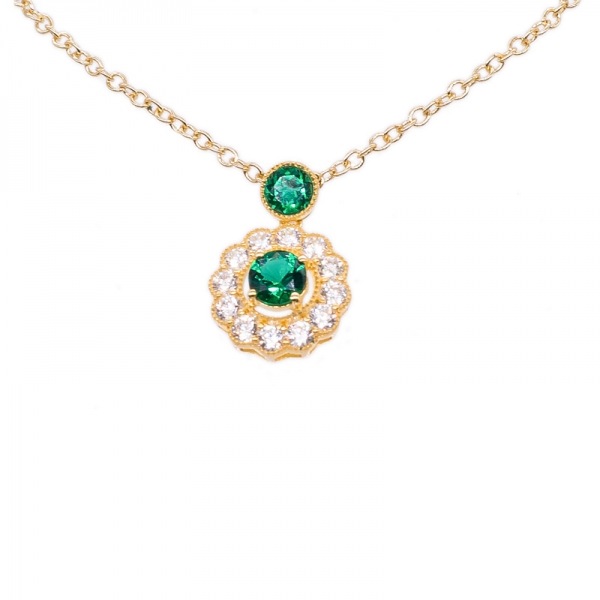 925 Sterling Silver Jewelry Set with Round Green Nano