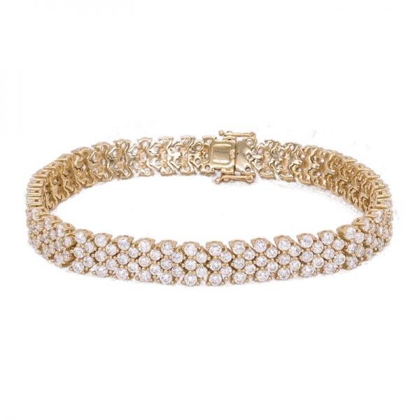 Round White CZ Gold Plated Bracelet in 925 Sterling Silver