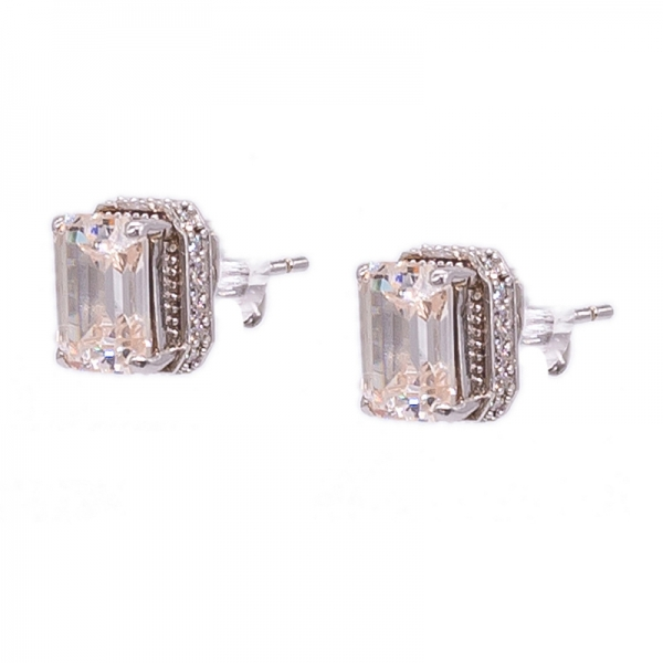Emerald Cut Morganite Peach Silver Stud Earrings