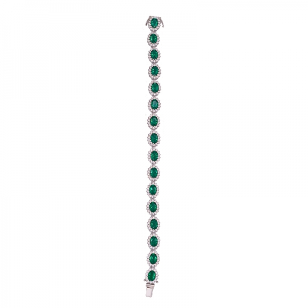 Oval Green Nano Sterling Silver Rhodium Bracelet