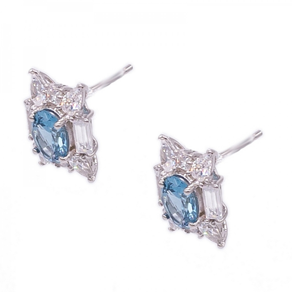Blue Diamond Nano Stud Earrings in 925 Sterling Silver
