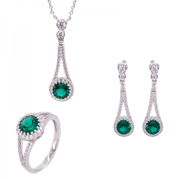 Classical Silver Ring, Earrings and Necklace Jewelry Set with Green Nano