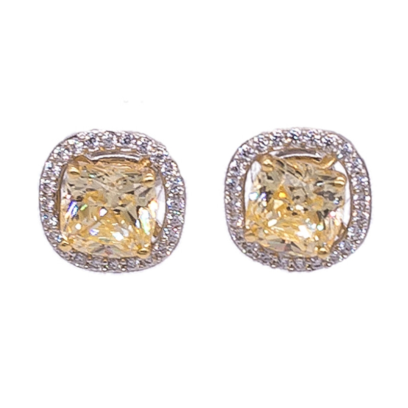 81b309167 Wholesale Cushion Diamond Yellow Stud Halo Earrings In 925 Sterling ...