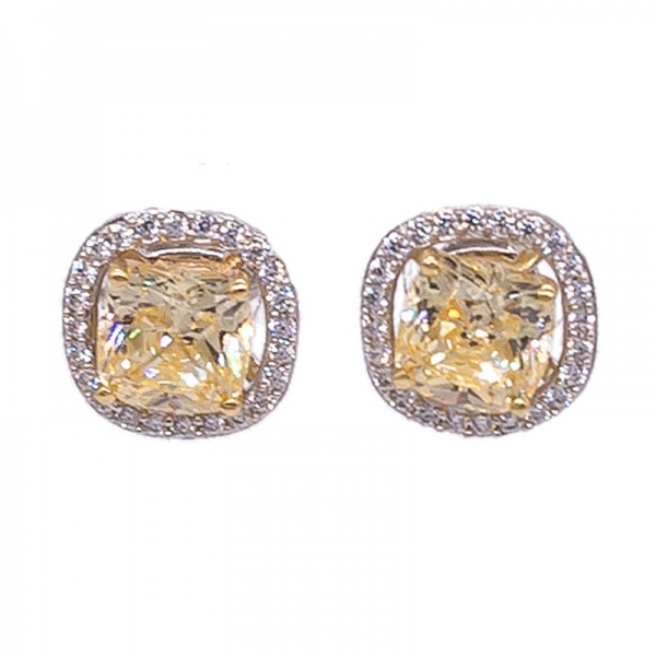 Cushion Diamond Yellow Stud Halo Earrings in 925 Sterling Silver