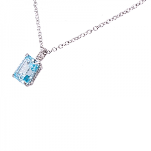 925 Sterling Silver Necklace with Emerald Cut Aqua CZ