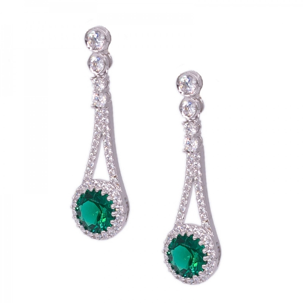 Popular Ladies Silver Earrings Set with Green Nano