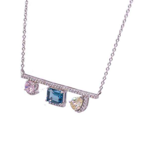 925 Silver Three Stones Necklace For Women
