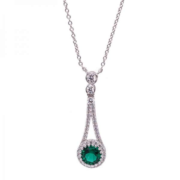 925 Silver Rhodium Plated Necklace with Round Shape Green Nano